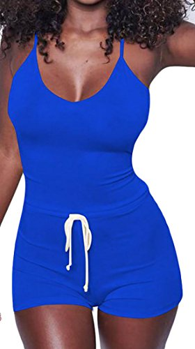 XTX Women Shorts Romper Low Cut Strap Sexy Drawstring Backless Blue M