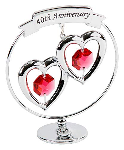 40th Anniversary - Haysom Interiors 40th Anniversary Silver Plated Keepsake Gift with Red Swarvoski Crystal Glass by Happy Homewares