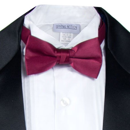 Spring Notion Boys' Black Classic Tuxedo with Tail Burgundy 4T by Spring Notion (Image #2)