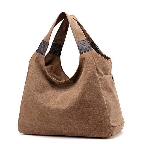 Bag Handbag Womens Handles Shoulder Hobo Brown Large Capacity iDamtok Top Canvas Totes q76wxvvI