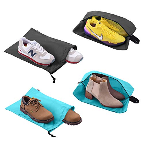(Shoe Bags for Travel Accessories Men & Women Large Shoe Bag with Drawstring and Zipper for Storage Golf Gym 4-Pack (2)