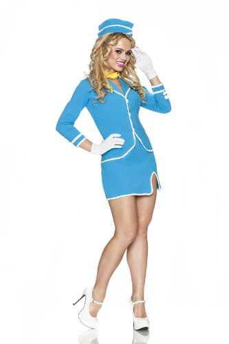 Delicious Vintage Friendly Skies Costume, Blue, Small