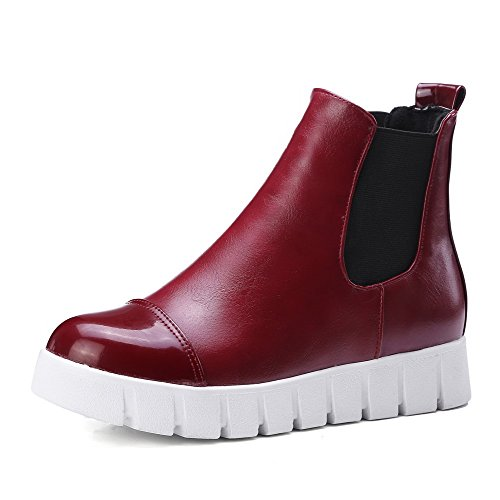 on Low Red Pull Women's Color Boots top WeiPoot PU Low Heels Assorted qSxBnZ0