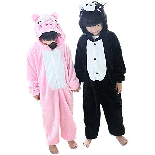 [Duraplast Kids Animal Costume Hoodie Jumpsuit Flannel Outwear Pig Cos Black L] (Pig Costume Nose Ears Tail)