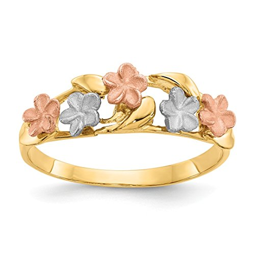 14k Tri Color Yellow White Gold Plumeria Band Ring Size 7.00 Flowers/leaf Fine Jewelry For Women Gift Set ()