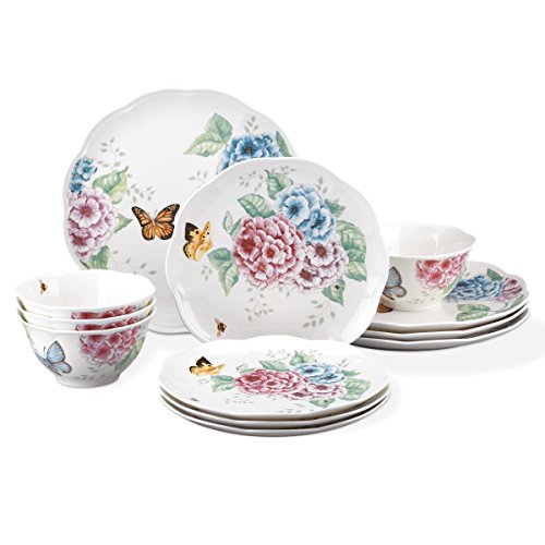 Butterfly Dinnerware - Lenox 12 Piece Butterfly Meadow Hydrangea Set, White