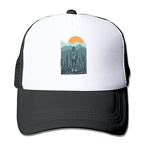 Hiker Mesh Trucker Hat - Baseball Cap Black (Crest Trucker Hat)