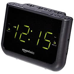 AmazonBasics FM Dual Alarm Digital Clock Radio with USB Charging Port, LED Display