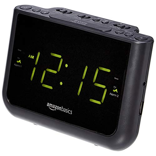 AmazonBasics FM Dual Alarm Clock Radio with USB Charging Port