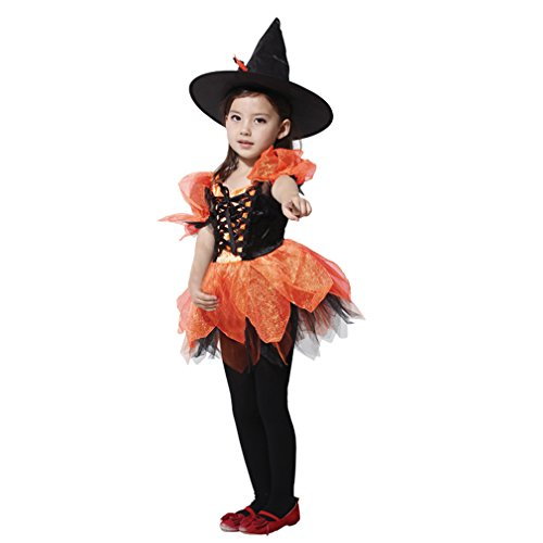 Spooktacular Girls' Sassy Orange Witch Costume Set with Dress and Hat, XL