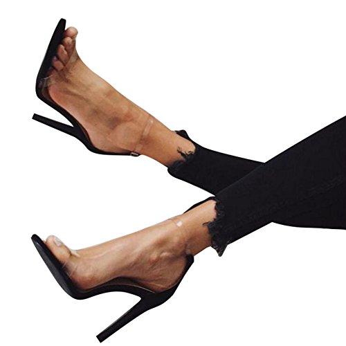 Yying Femme Talons Hauts Sandales Chaussures Open Toe Stileto Transparent Sandales, Cheville Boucle Strappy Sandales, 11.5cm Soir Chaussures,