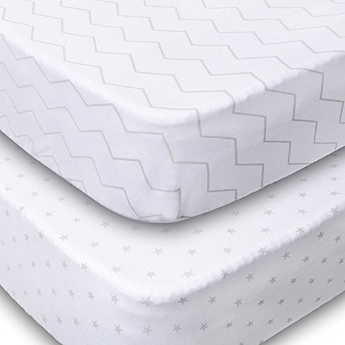 Playard Sheets, 2 Pack Fitted Soft Jersey Cotton Playpen Sheet, Bedding with Unisex Chevron and Stars Design, Fits Standard Pack n Play Mattress for Babies and Toddlers