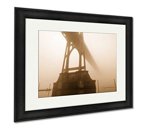Ashley Framed Prints St Johns Bridge In Fog, Wall Art Home Decoration, Sepia, 26x30 (frame size), Black Frame, (Fog Framed Art)