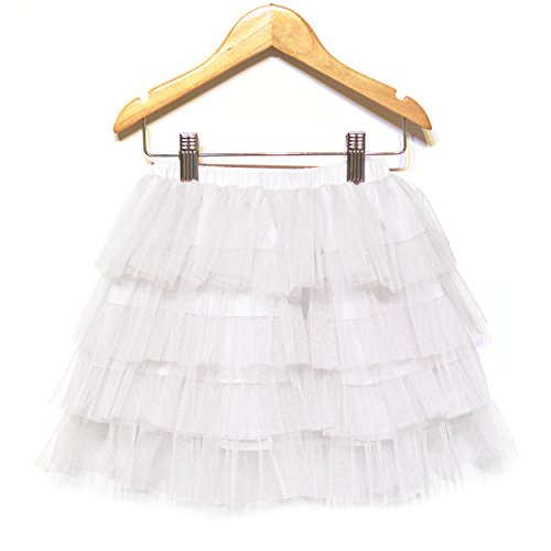 Khanomak Kids Girls Layered All Solid Ruffle Tutu Skirt (2T/3T, White)