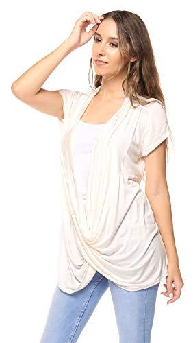 Free to Live Women's Lightweight Short Sleeve Criss Cross Pullover Nursing Top (Medium, Ivory) ()
