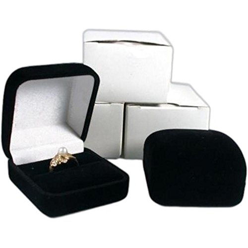 FindingKing 3 Black Flocked Square Ring Gift Boxes Jewelry Displays Black Satin Lined Gift Box
