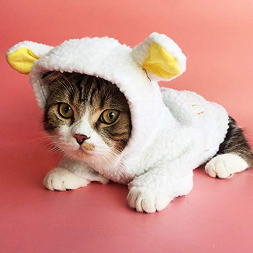 Stock Show Pet Costume Cute White Sheep Costume Small Dog Cat Winter Warm Fleece Clothes Coat Puppy Hoodie Clothing Apparel Small Dog Doggie Puppy Chihuahua Cat -