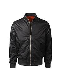kingf Vintage Harrington Jacket Mens Classic Bomber Jackets Tartan Lining Coat