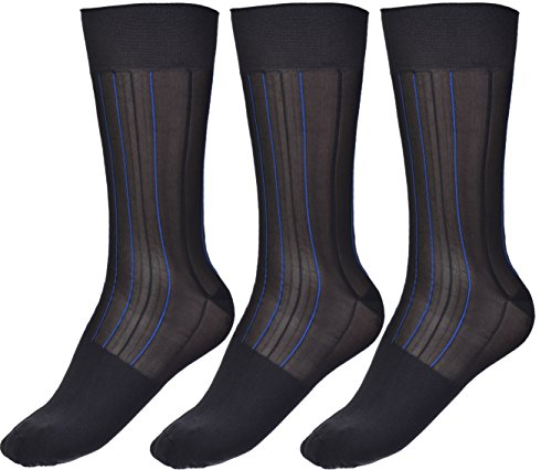 (Mens Thin Socks Silk Sheer Trouser Sox Mid-Calf Over the Calf Cool For Summer 3 Packs)