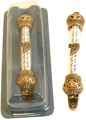 Holy Land Market Antique Bronze or Copper Tone Crown Mezuzah with Scroll  (5 - Antique Mezuzah