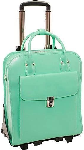 Personalized Initials Embossing McKleinUSA LA Grange Mint 15.6 Leather Vertical Detachable, Wheeled Ladies Briefcase 96492
