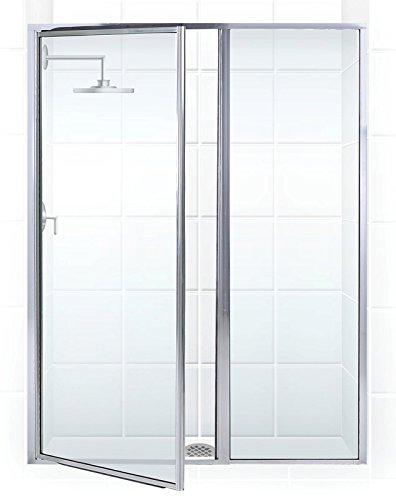 Hinge Classic Glass Shower - Coastal Shower Doors L31IL18.69B-C Legend Series Framed Hinge Swing Shower Door with Inline Panel in Clear Glass