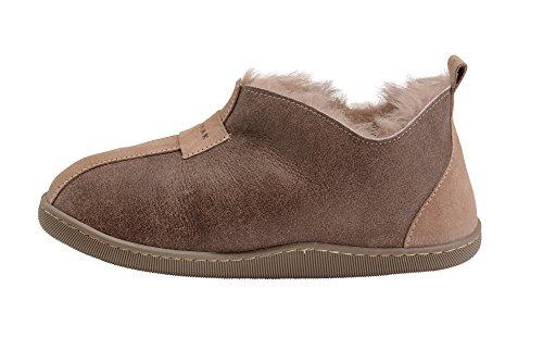 B002 Chaussures Pantoufles Chaussons Avec Laine Femmes Chaud De Beige Peau Vogar Luxe Mouton Doublure 4ap7x