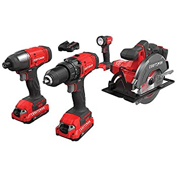 Image of CRAFTSMAN V20 Cordless Drill Combo Kit, 4 Tool (CMCK401D2) Home Improvements
