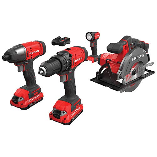 CRAFTSMAN V20 Cordless Drill Combo Kit, 4 Tool (CMCK401D2)