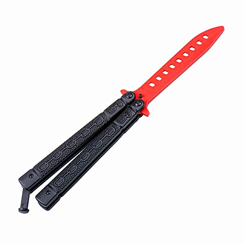 BESSEEK Butterfly Knife Trainer Practice, Black - Red Stainless Steel Knife Tool - for Beginner, Children, Butterfly Knives Lover and More - No Offensive Blade(Upgrade)