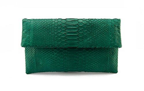 Genuine Moss Green Python Leather Classic Foldover Clutch Bag ()