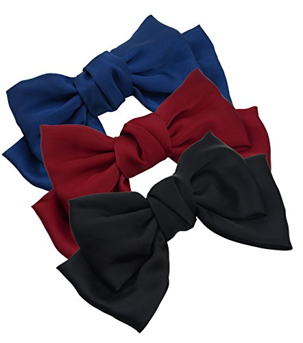3-Pack Fashion Double-Deck Chiffon Large Solid Color Bowknot Hair Clip Women Girls Headband Hair Bow Accessories (Black Burgundy and Navy Blue)