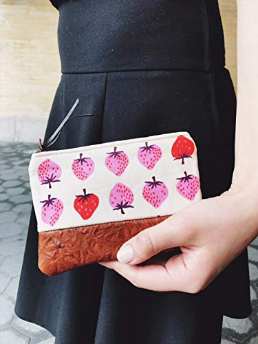 Strawberry Leather Coin Purse, Coin Pouch, Small Leather Purse, Change Purse Wallet by 144 Collection