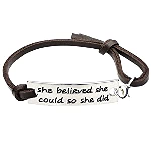 Angelus She believed she could so she did Engraved Black Affirmation Positive Quote Inspirational Leather Bracelet for Women Ladies Girls
