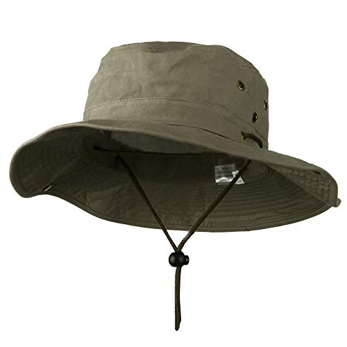 Extra Big Size Brushed Twill Aussie Hats - Olive XL-2XL