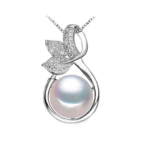 Fairy Necklace Design Pearl Pendant Fashion Style Natural Freshwater Pearl Silver Necklace Pendant for Women,Purple