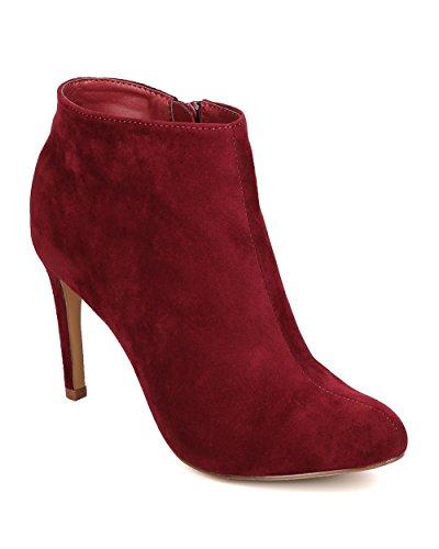 Liliana FB61 Women Faux Suede Almond Toe Single Sole Stiletto Bootie - Wine FKnftLYXM