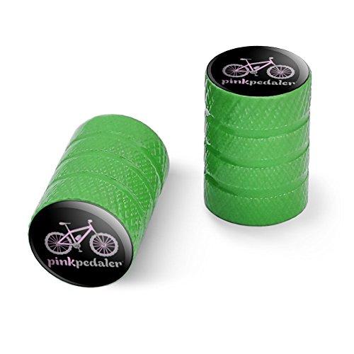 オートバイ自転車バイクタイヤリムホイールアルミバルブステムキャップ - グリーンピンクペダルマウンテンバイク自転車ロゴ