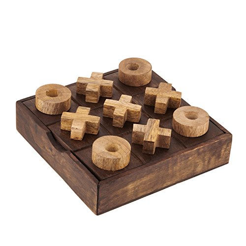 Wooden Tic Tac Toe Game X's and O's - Fun Travel Games Toys for Kids Children - 2 Player Handheld Brain Challenge Game Outdoor Indoor.