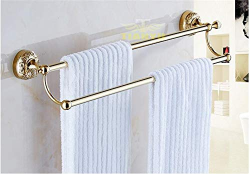 Gold Double Pole Punch-Free Towel Rack,Anti-Corrosion Crystal Brass Towel bar.for Bathroom Kitchen,Etc-D 60cm(24inch)