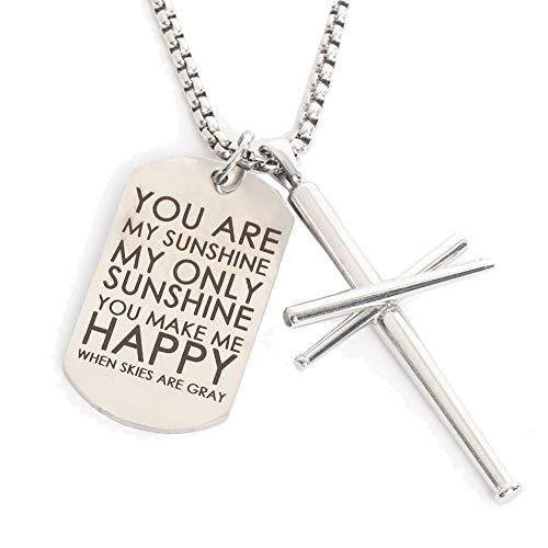 Cross Necklace Baseball Bats - You are My Sunshine Dog Tag Military Air Force Pendant Key Chain Sport Stainless Steel Cross Necklaces for Men Boys Girls Gifts 22