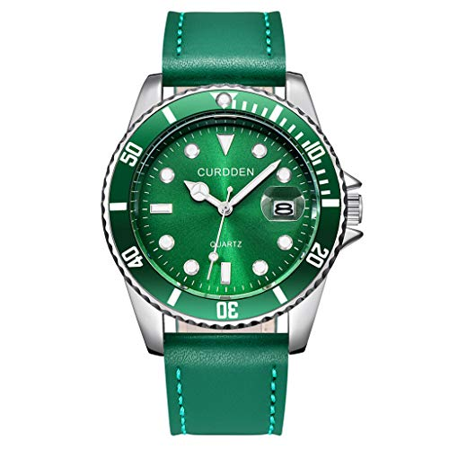XBKPLO Quartz Watches Men's Fashion Waterproof Analog Wrist Watch Mechanical Calendar Window Leather Strap Business Watch Jewelry Gift