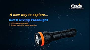 Fenix SD10 930 Lumen CREE XM-L2 T6 LED 100 meter submersible Diving Flashlight with Two EdisonBright CR123A Lithium Batteries