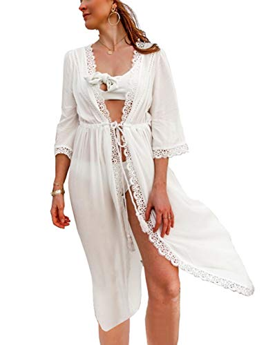 Women's Kimono Bikini Cover ups Cardigan Sexy Women Lace Trim Rayon Cotton Beach Wears White Midi Length Dresses (one size, 8410)