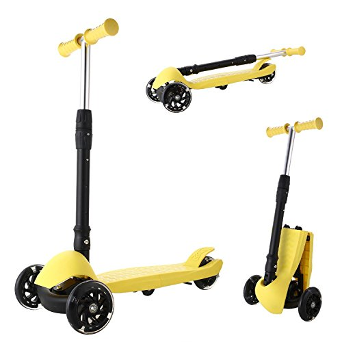 (Vividy Scooter for Kids, Foldable Kick Scooter Deluxe Light up Wheels Handlebars Adjustability from Age 3-15 Max Weight 110lbs (US Stock))