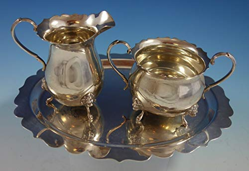 Sterling Silver Sugar and Creamer w/Underplate Set 3pc Lion Feet (#2570)