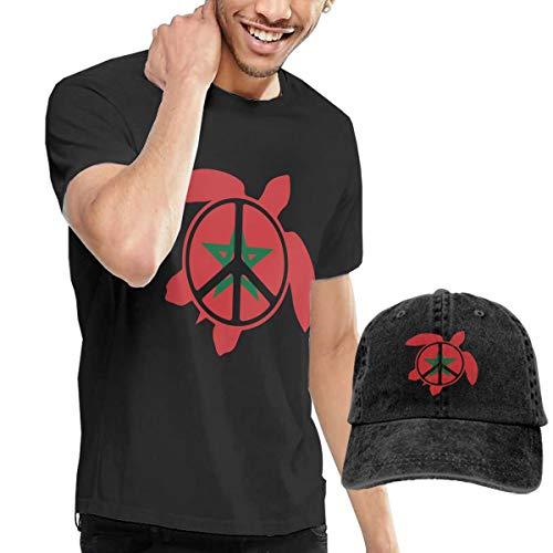 Adult Morocco Flag Sea Turtle Peace Sign Short Sleeve Tee and Hat Costume Set Black