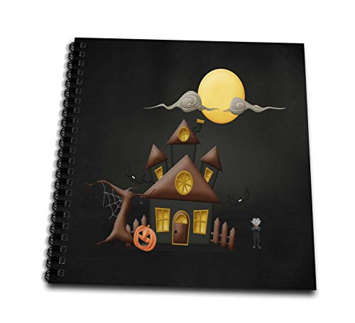 3dRose Beverly Turner Halloween Design - Haunted House, Frankenstein, Spooky Tree, Pumpkin, Big Moon, and Bats - Drawing Book 8 x 8 inch (db_302007_1) -