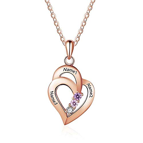 KIKISHOPQ Personalized Necklaces for Women with 3 Birthstone 3 Names Pendant for mom(Rose-Gold-Plated-Base 18) ()
