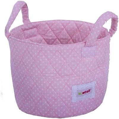 Minene Small Fabric Storage Basket Organiser with Handles Pink Star